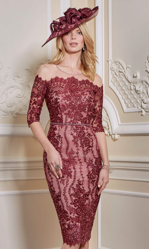 26677A Burgundy John Charles Occasion Dress With Sleeves - Fab Frocks