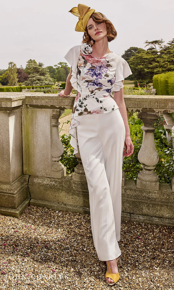 26863 Carnation John Charles Occasion Floral Trouser Suit - Fab Frocks