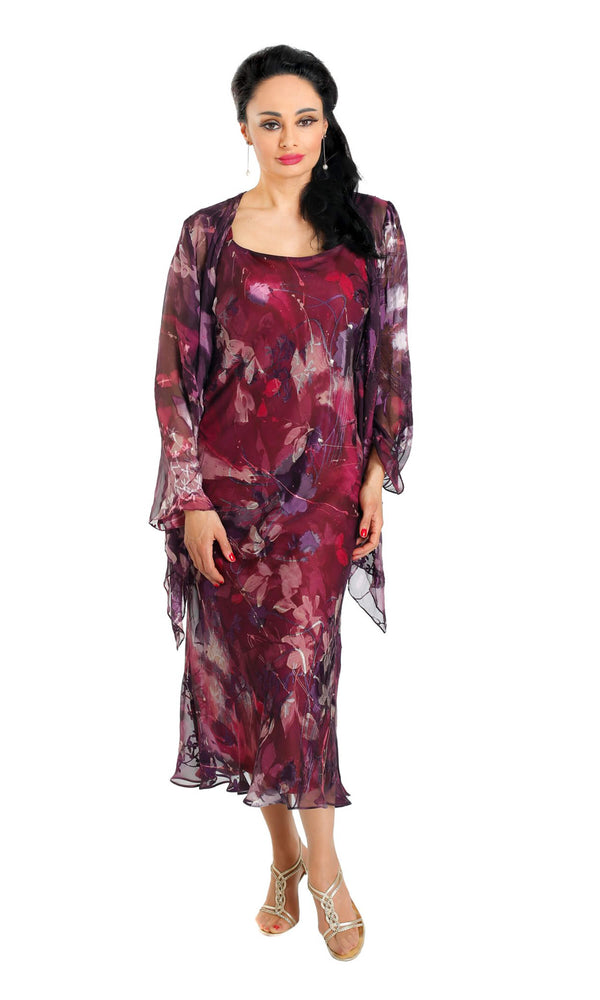 400401 Plum Lewis Henry Chiffon Dress & Floaty Jacket - Fab Frocks