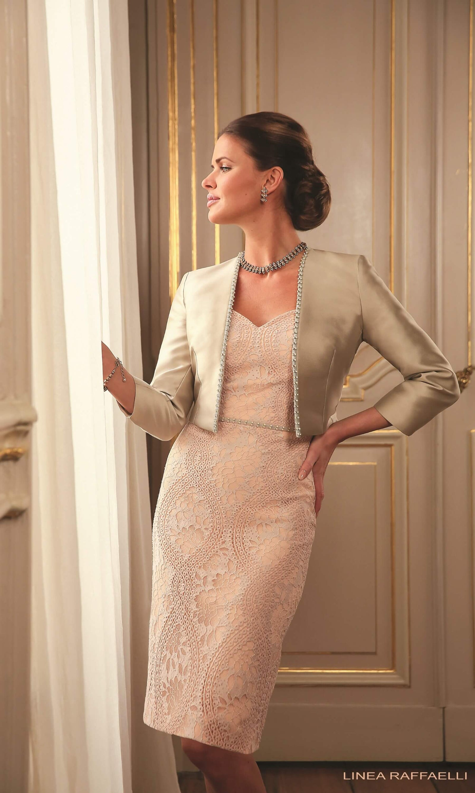 Set 44 Make-Up Linea Raffaelli Lace Dress & Stone Bolero - Fab Frocks