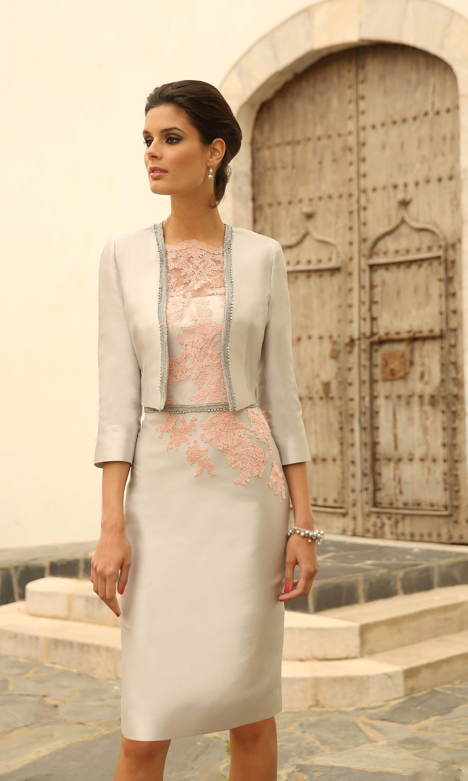 Set 264 Flamingo Silver Linea Raffaelli Dress & Bolero - Fab Frocks