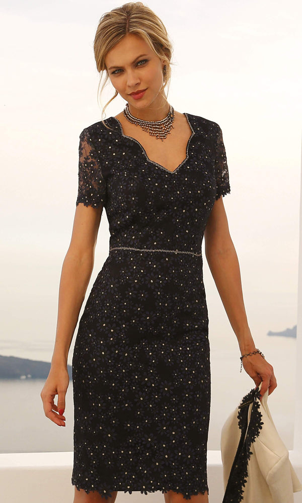 Set 421 Navy Linea Raffaelli Lace Dress & Gold Bolero - Fab Frocks