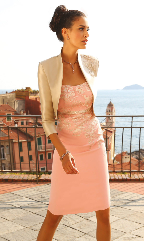 Set 88 Flamingo Pearl Linea Raffaelli Dress & Bolero - Fab Frocks