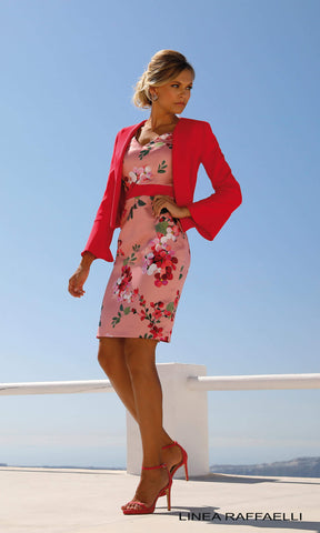 Set 230 Pink Coral Linea Raffaelli Dress & Bolero - Fab Frocks