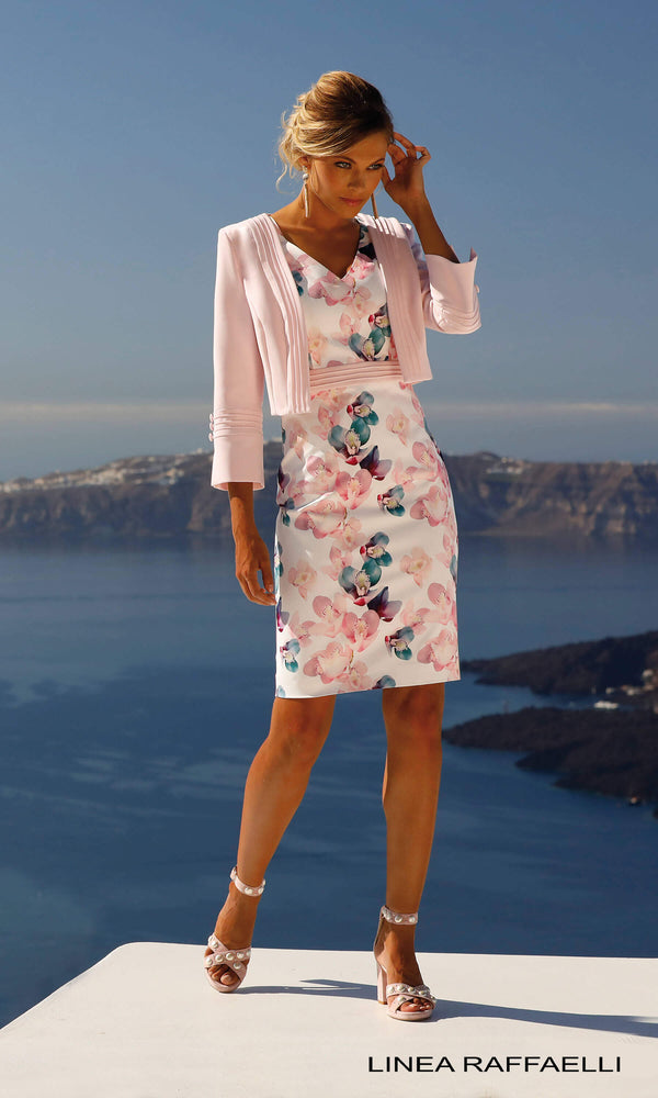Set 265 Pink Linea Raffaelli Floral Dress & Bolero Jacket - Fab Frocks