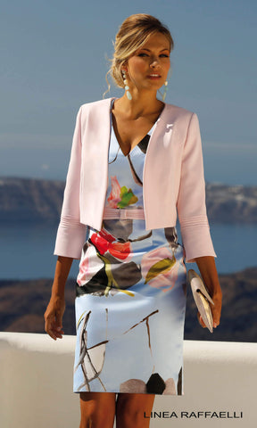Set 276 Blue Pink Linea Raffaelli Print Dress & Jacket