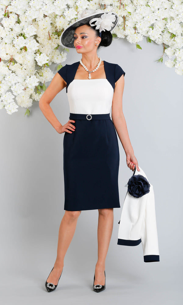 Erika Fabiola Navy Claudia C Cap Sleeve Dress With Bolero - Fab Frocks