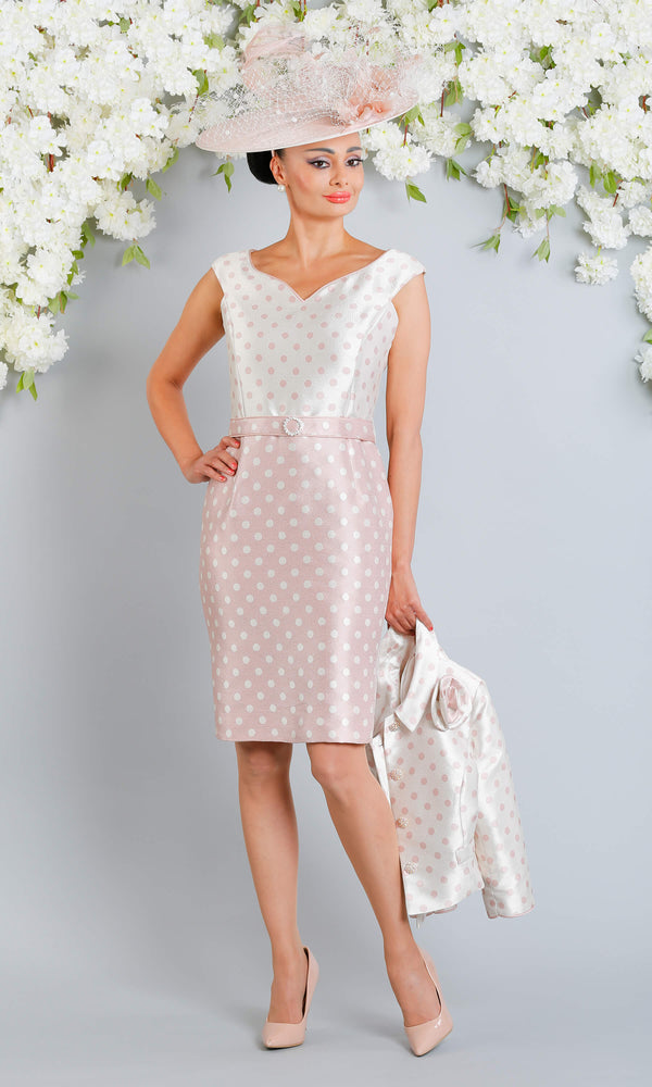 X79 D812 Pink Pearl Luis Civit Polka Dot Dress & Jacket