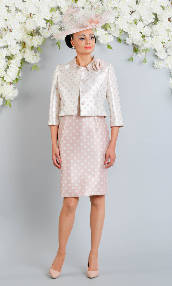 X79 D812 Pink Pearl Luis Civit Polka Dot Dress & Jacket - Fab Frocks