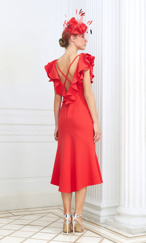 D892 Coral Luis Civit Ruffle Special Occasion Dress - Fab Frocks