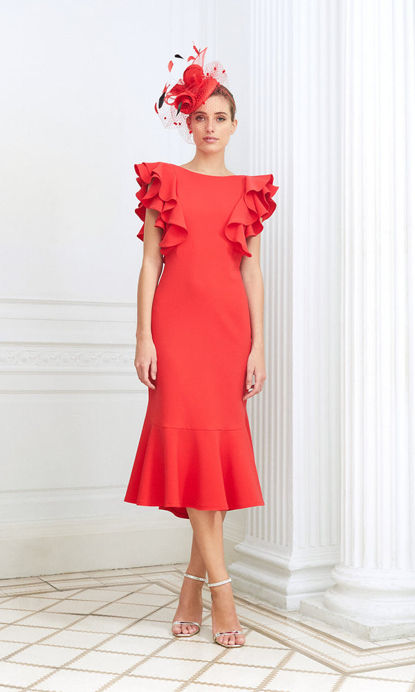D892 Coral Luis Civit Ruffle Special Occasion Dress