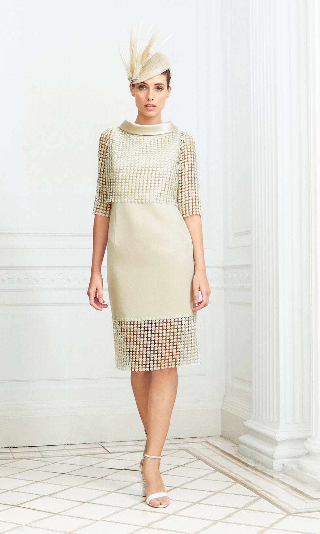 D898 Gold Luis Civit Mesh Occasion Dress With Sleeves