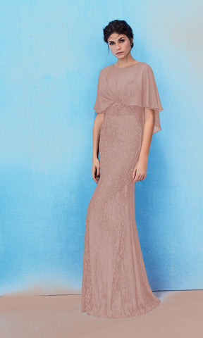 2J171-L Taupe Marfil Barcelona Lace Long Occasion Dress - Fab Frocks