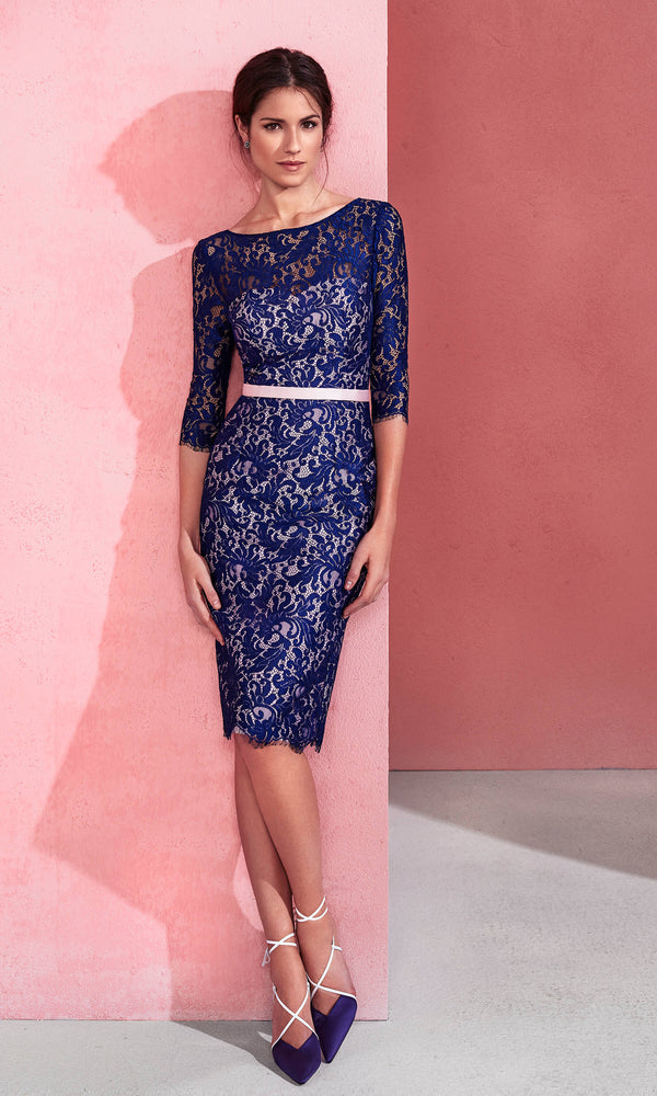 2J1A3 Navy Pink Marfil Barcelona Lace Special Occasion Dress - Fab Frocks