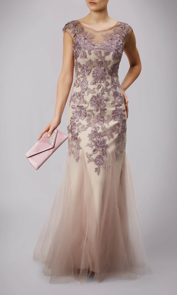 MC166078 Mauve Mascara Evening Gown With Netted Panels