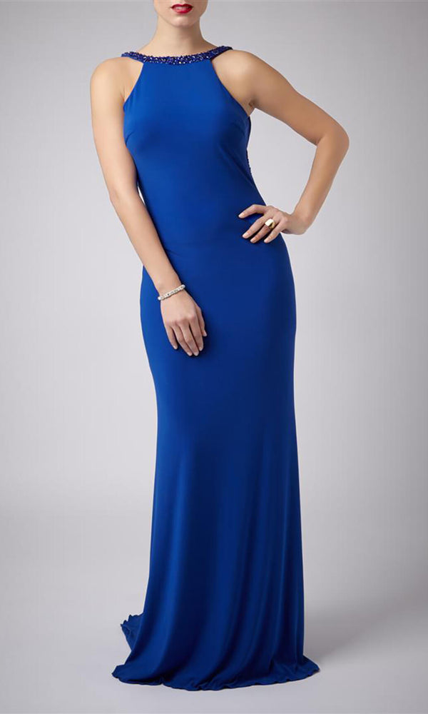 MC181089G Royal Mascara Low Back Evening Prom Dress - Fab Frocks