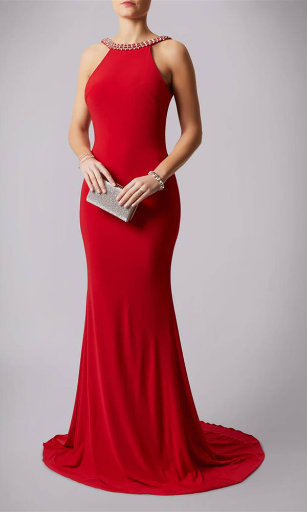 MC181193P Red Mascara Low Back Evening Prom Dress - Fab Frocks