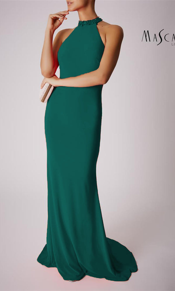 MC181206P Forest Green Mascara Collar Neck Low Back Dress - Fab Frocks
