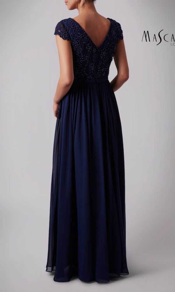 MC181329BM Navy Mascara Beaded Dress With Cap Sleeves