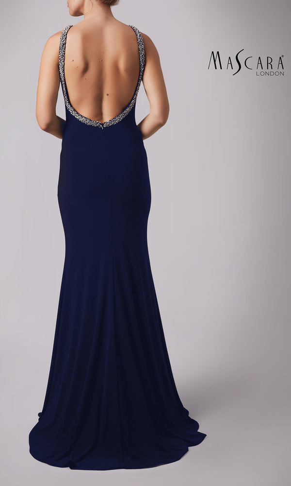 MC181341G Navy Mascara Low Crystal Back Evening Dress