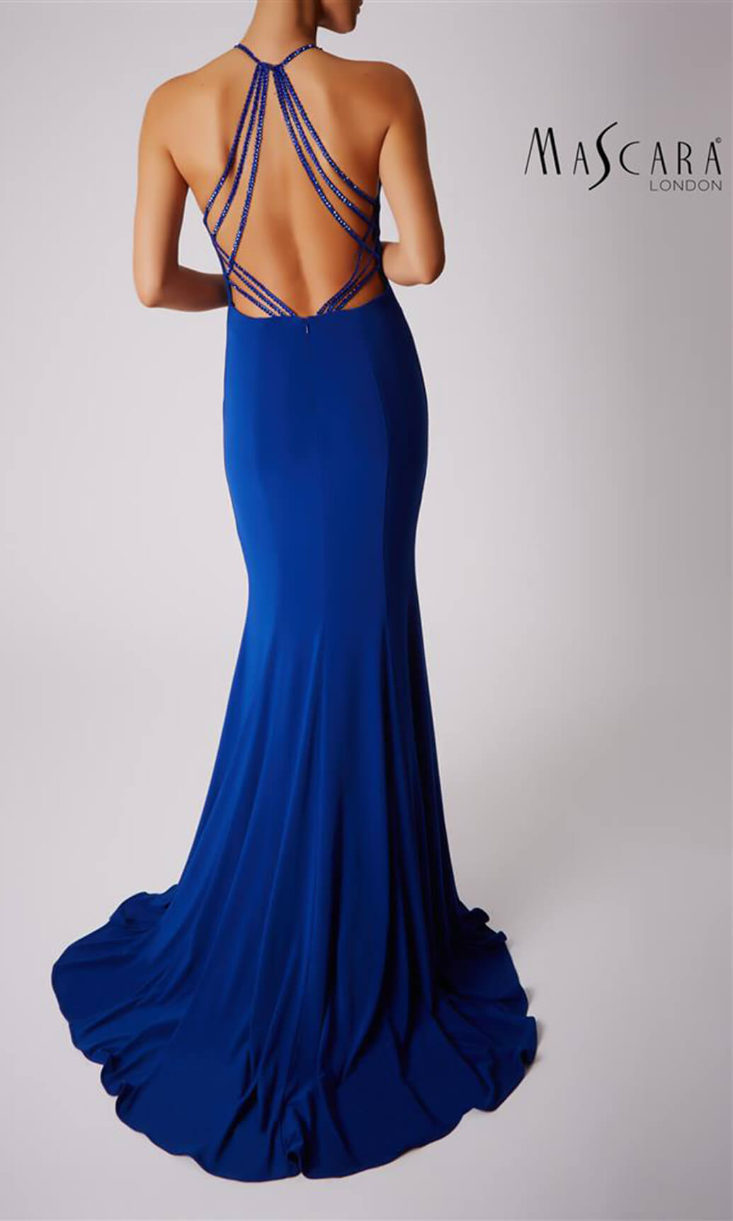 MC181360G Royal Blue Mascara Open Back Evening Prom Dress - Fab Frocks