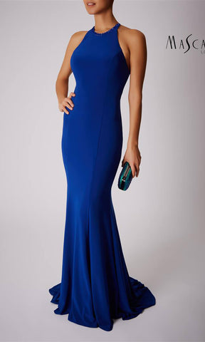 MC181360G Royal Blue Mascara Open Back Evening Prom Dress