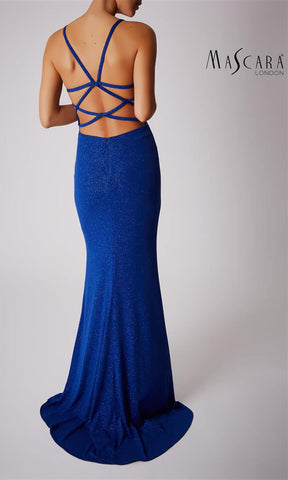 MC181446 Royal Blue Mascara Glitter Fabric Evening Prom Dress