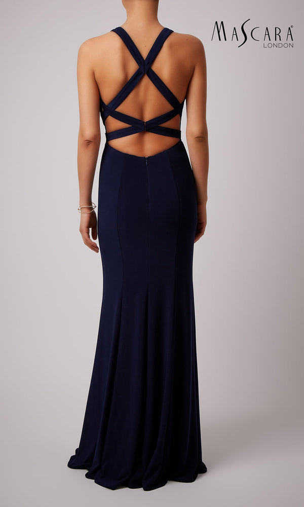 MC181454 Navy Mascara Strap Back Plain Prom Evening Dress