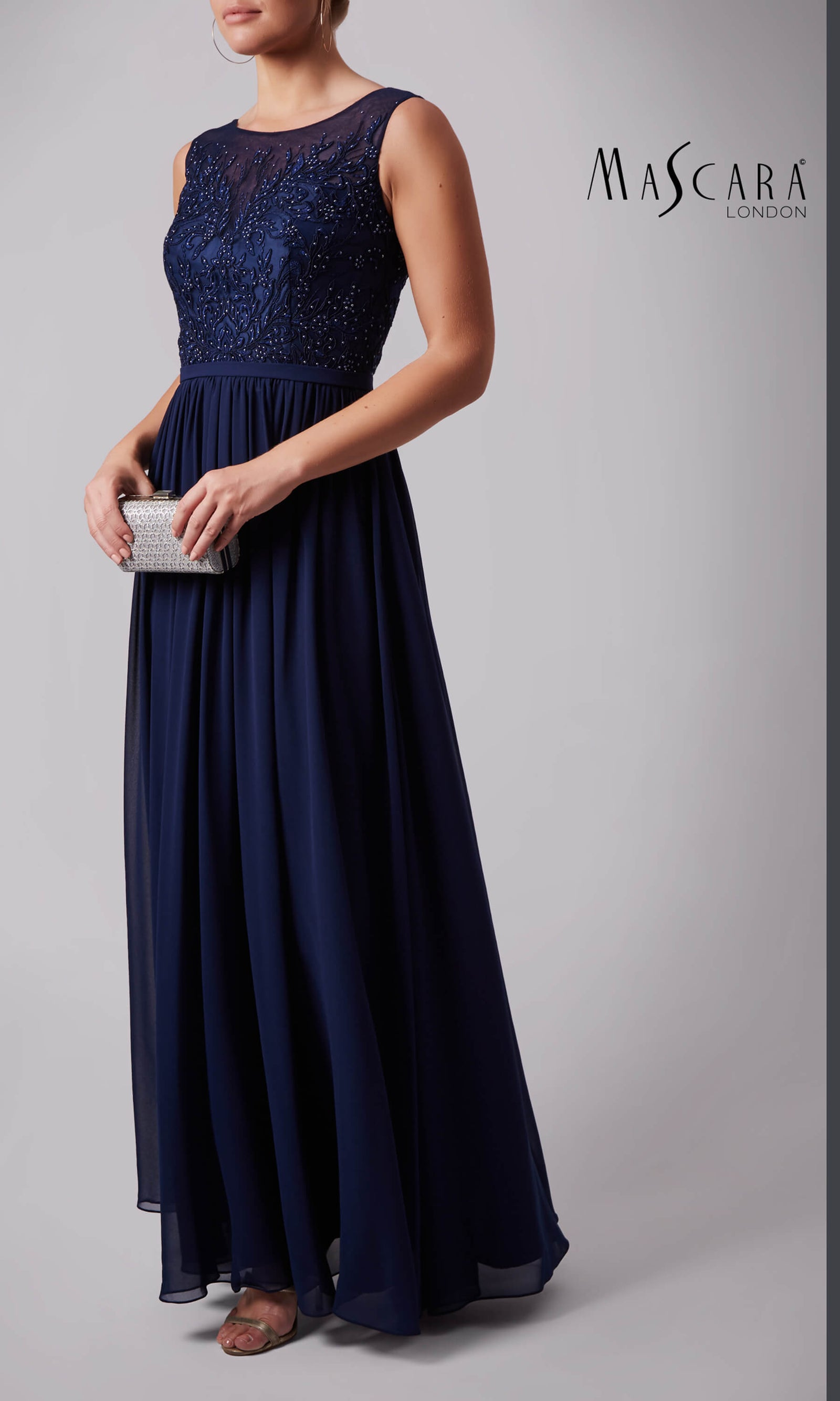 MC169031 Navy Mascara Full Length Evening Prom Dress - Fab Frocks