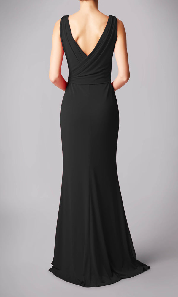 MC181245G Black Mascara V-Neck Evening Dress