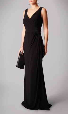 MC181245G Black Mascara V-Neck Evening Dress - Fab Frocks