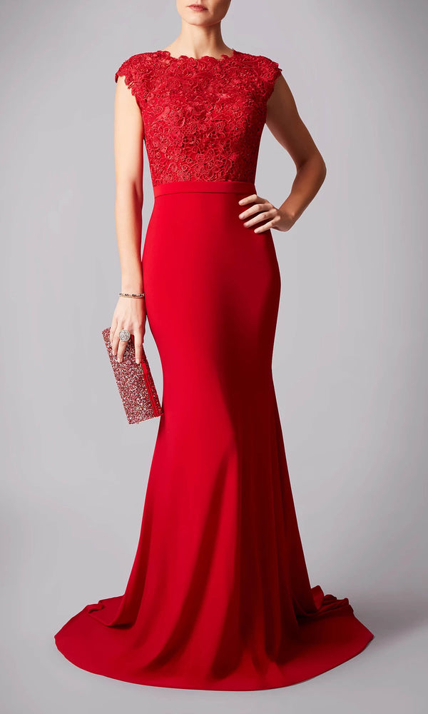 MC181284 Red Mascara High Neck Lace Bodice Dress