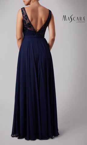 MC181287P Navy Mascara Dress With Sequin Detail - Fab Frocks