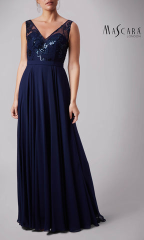 MC181287P Navy Mascara Dress With Sequin Detail
