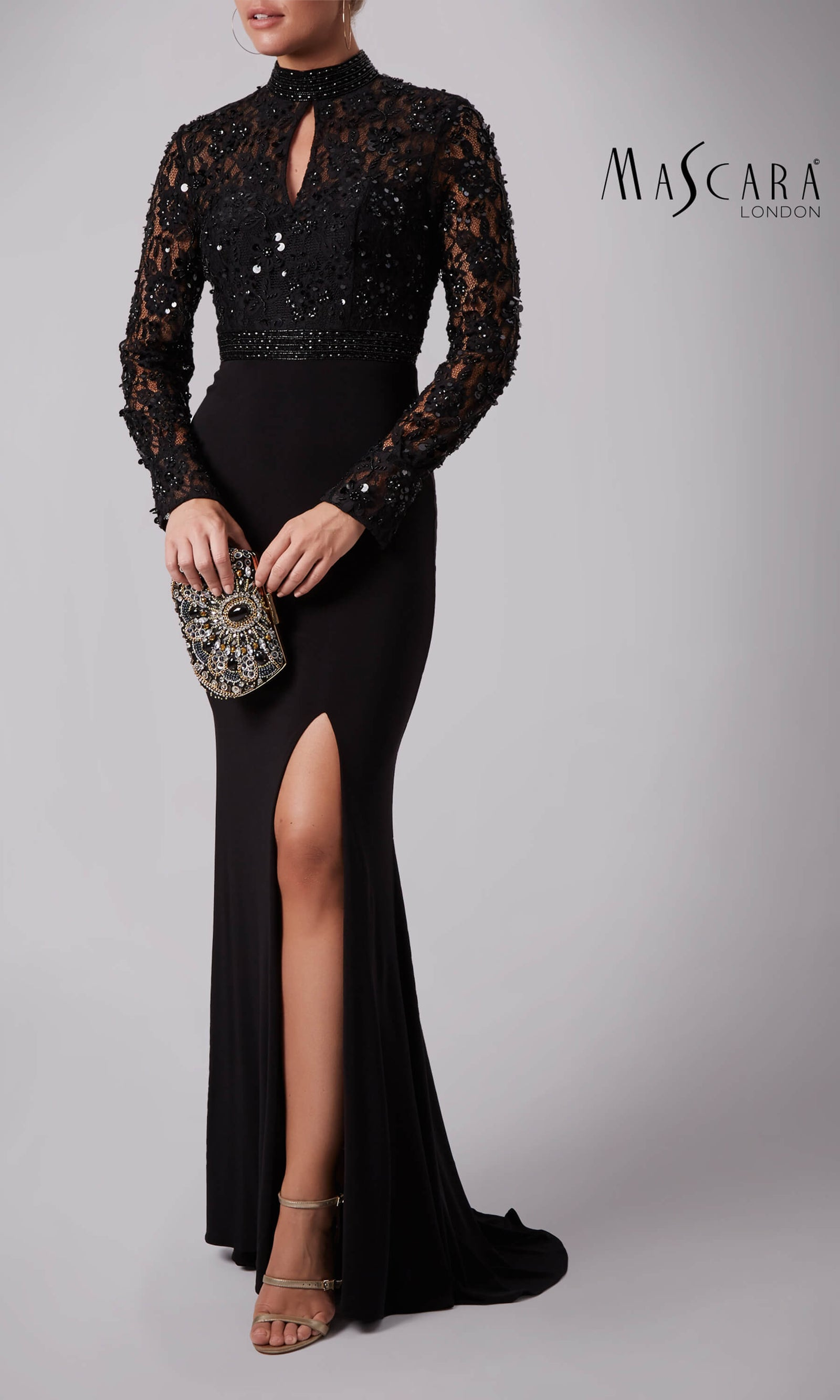 MC181371 Black Mascara Dress With Full Length Sleeves - Fab Frocks