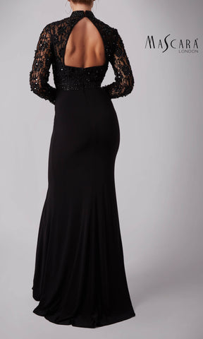 MC181371 Black Mascara Dress With Full Length Sleeves