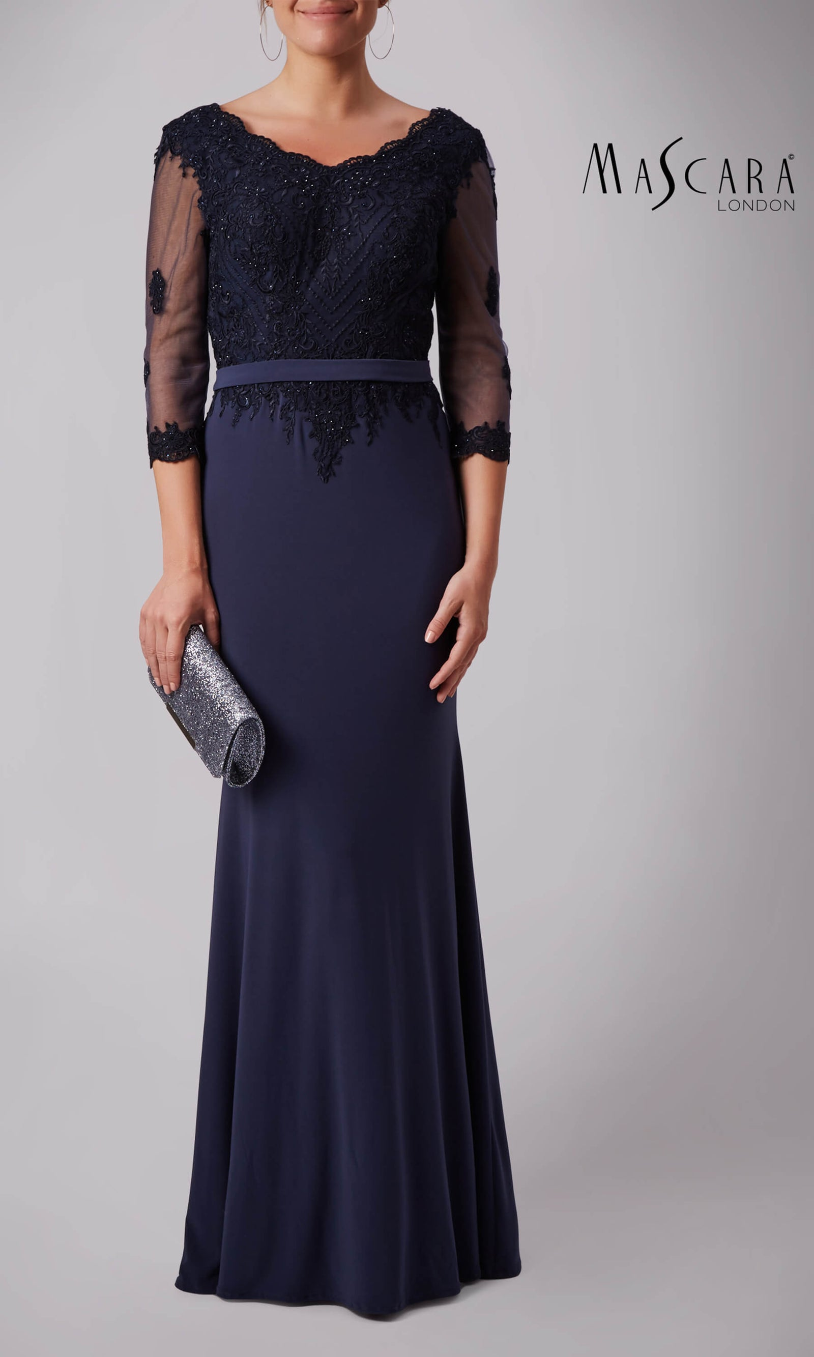 MC181385 Charcoal Mascara Evening Dress With Sleeves - Fab Frocks
