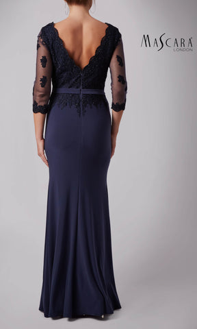 MC181385 Charcoal Mascara Evening Dress With Sleeves
