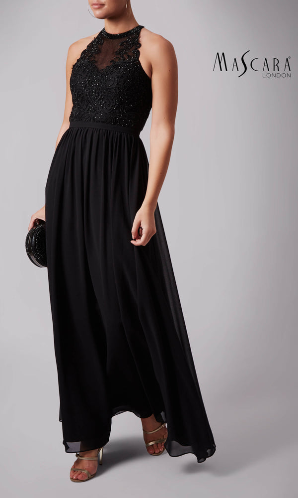 MC182017 Black Mascara Dress With High Neck & Open Back - Fab Frocks