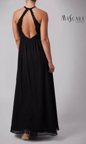 MC182017 Black Mascara Dress With High Neck & Open Back