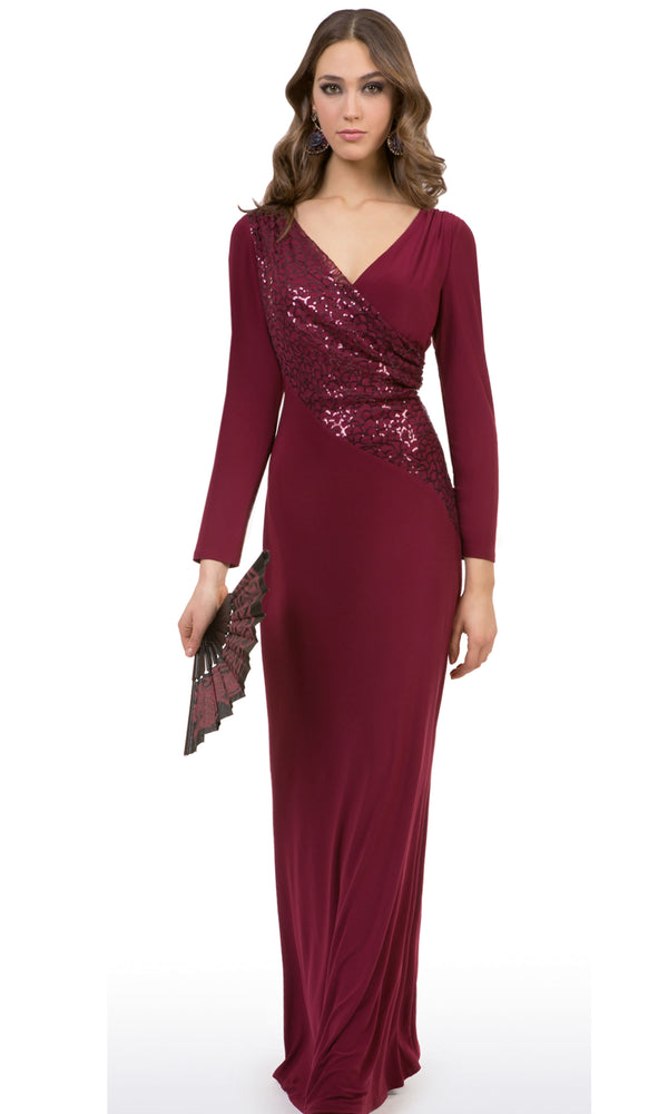 8341 Wine Michaela Louisa Evening Dress With Sleeves