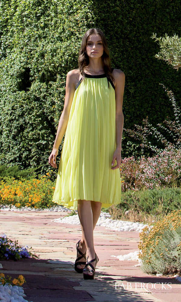 8630 Lime Michaela Louisa Pleated Floaty Tent Style Dress - Fab Frocks