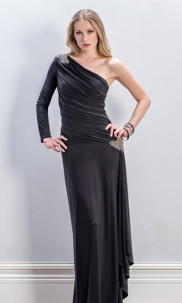 8704 Black Michaela Louisa One Shoulder Evening Dress