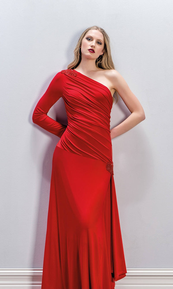 8704 Ruby Red Michaela Louisa One Shoulder Evening Dress - Fab Frocks