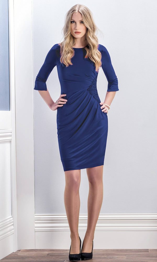 8744 Sapphire Blue Michaela Louisa Dress With Sleeves - Fab Frocks