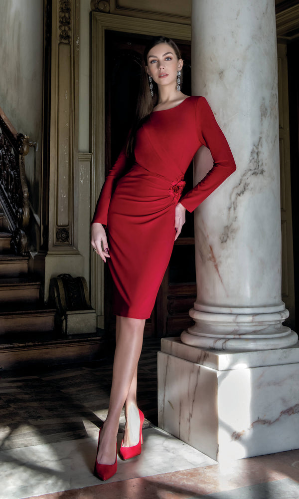 8911 Red Michaela Louisa Ruched Jersey Dress With Sleeves