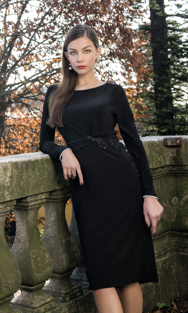 8927 Black Michaela Louisa Cocktail Dress With Sleeves