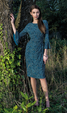 8932 Teal Michaela Louisa Print Dress With Bell Sleeves