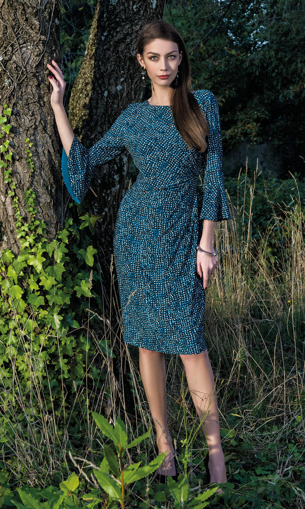 8932 Teal Michaela Louisa Print Dress With Bell Sleeves - Fab Frocks