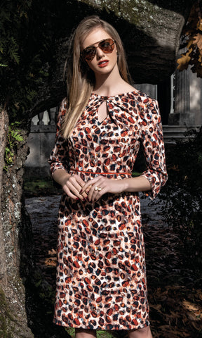 8944 Brown Michaela Louisa Animal Print Dress With Sleeve - Fab Frocks